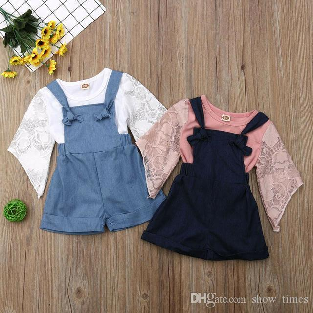 55b7de1b4b50 2019 Summer Girls Princess Clothes Cute Kids Baby Girl Lace Crop ...