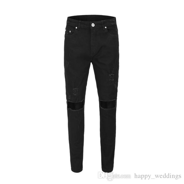 Black Broken New Holes For Icon Skinny Pants Ripped Fashion 2019 Man Men Streetwear Hiphop Trousers Jeans 35RAjL4