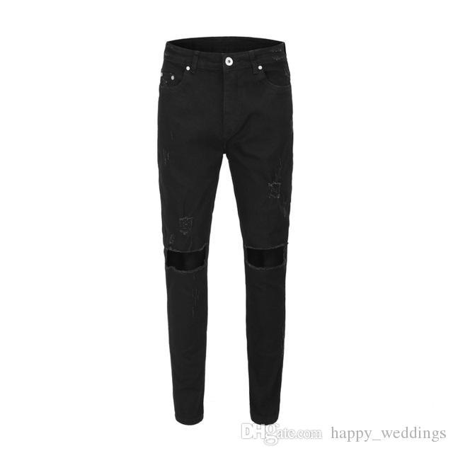 Cassés Jeans Trous Déchirés Moulants Hiphop Pour Pantalons Hommes 2019 Streetwear Icon Nouveaux De Black Homme Mode OP8n0wk