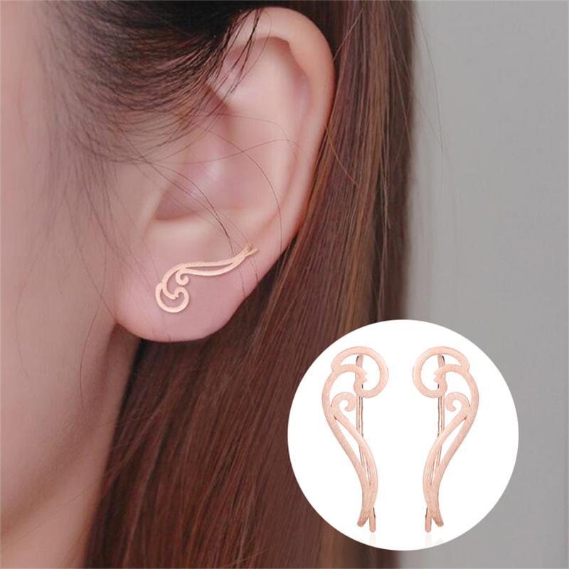 Yiustar onda orecchini del polsino Saluto Cartilagine Orecchini Donna Acciaio inossidabile intrecciato orecchini del polsino Boho gioielli falsi Conch Piercing Ear Studs