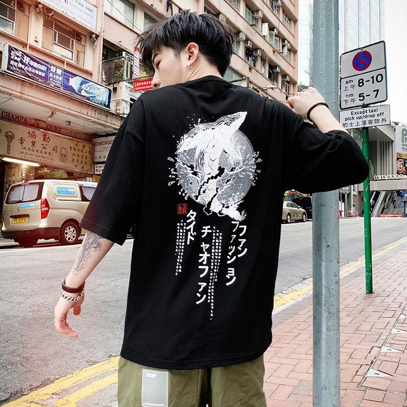 10f246d49c79 Streetwear Man's Shoulder Sleeve T-shirt 100% Cotton Japan Cartoon Print  Style Mens Top Quality Summer T Shirt Tops & Tees