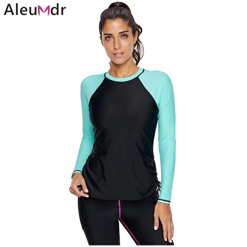 af935a791 2019 Aleumdr One Piece Swimsuits Mint Rosy Black Colorblock Women Long  Sleeve Rashguard Swimwear Surfing Top Beach Wetsuits LC410853 From  Xiatian4, ...