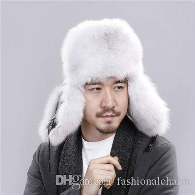2019 Man Real Silver Blue Fox Fur Hat Winter Ushanka Bomber Cap Russia Snow  Wind Thick Warm Fur With Real Sleepskin Leather Caps From Fashionalcharm 9a31858686f