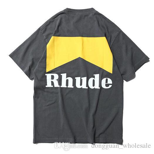2019 Rhude Best Quality Logo Printed Women Men T shirts tees Hiphop Men Cotton T shirt Shourt Sleeve For Summer