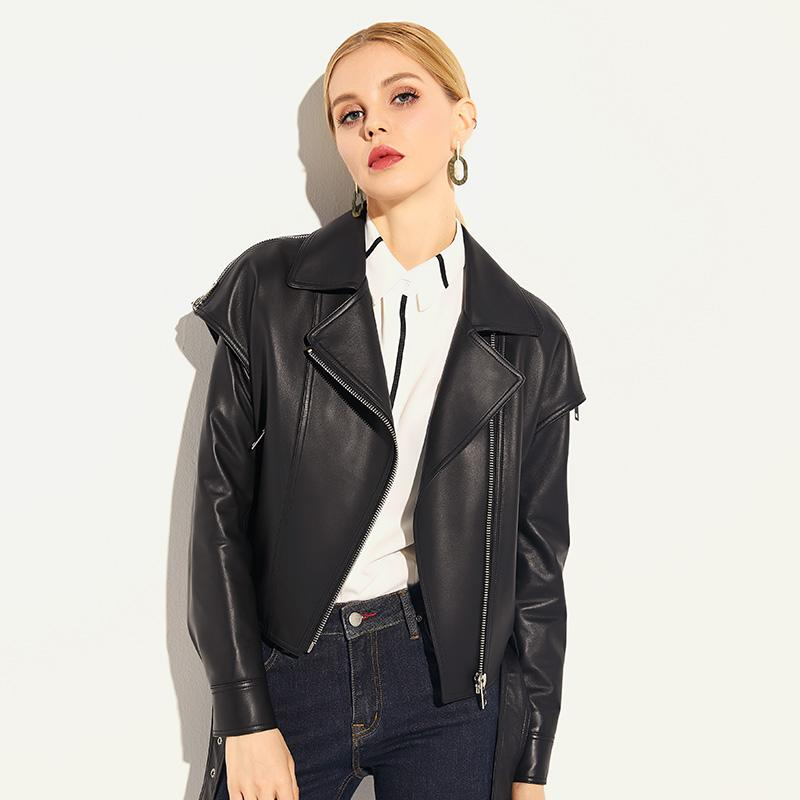 2018 new spring and autumn casual Korean leather women short slim jacket sheep leather motorcycle jacket pure