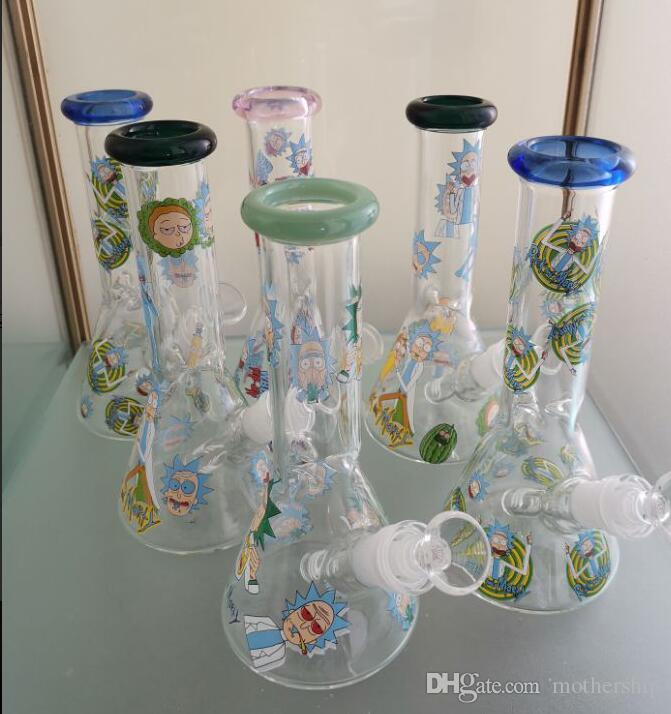 Motshop RASTA Glass Bong Simple Glass Bongs with Ice Catcher Beaker Base Glass Water Pipes for Smoking with Downstem and Bowl