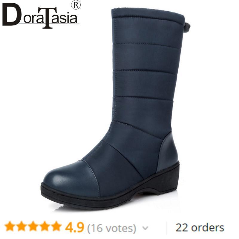 Acquista 2019 DoraTasia Moda Donna Stivali Da Neve Signore Calde Scarpe  Invernali In Gomma Zeppa Piattaforma Med Mezza Stivali Invernali Grandi  Dimensioni ... 67f750cb40d