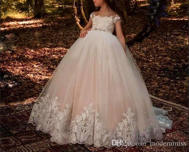 Custom lace applique formal wedding occasion dress flower girl