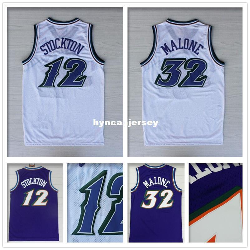new product 69c1f 2fcbd High Quality #12 John Stockton Jersey Stitched Wholesale cheap #32 Karl  Malone Jersey Black Retro Basketball Jersey S-XXL Ncaa