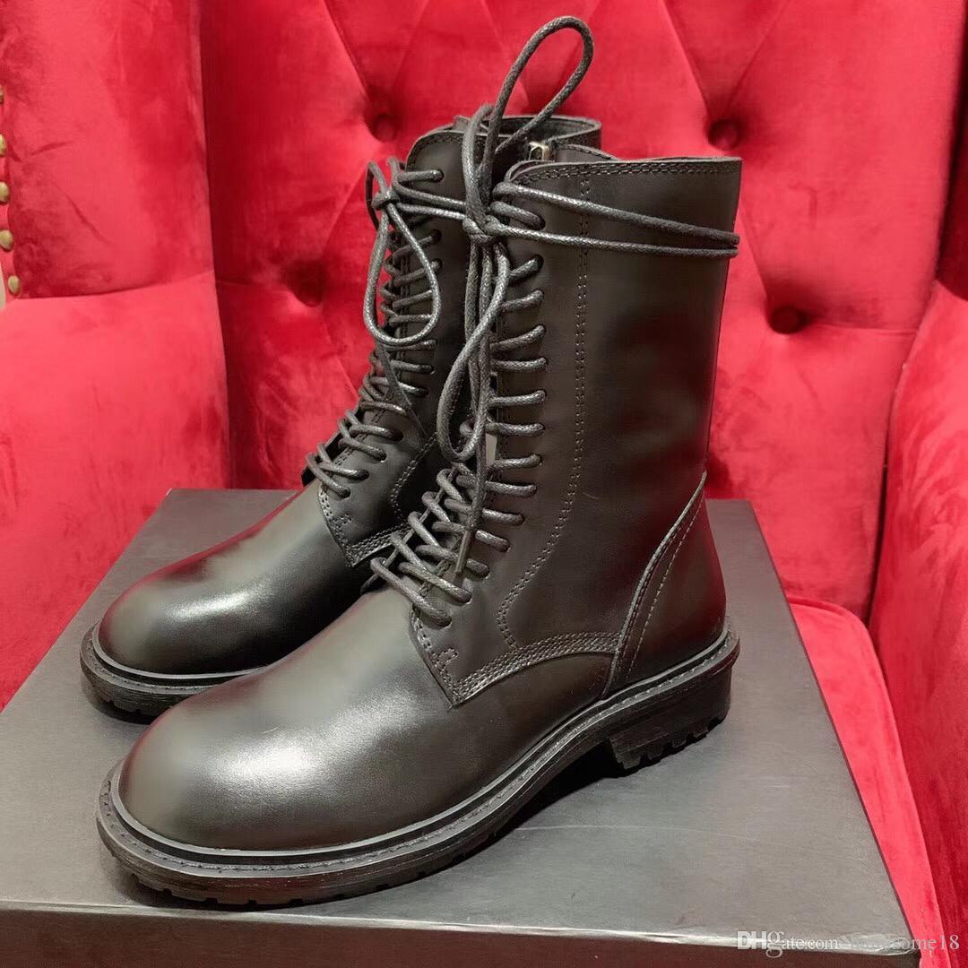 Nuevos zapatos de diseñador Botas de tobillo para mujer Tacón de bloque plano Botas de cuero de mujer Martin Botas de mujer Zapatos con cordones Caja