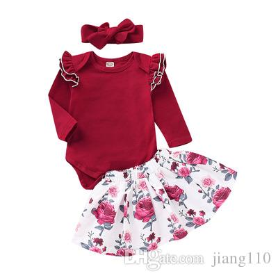 8301a53ec52af New INS 2019 Spring Summer Baby Girls Floral Print Ruffles Top and Skirts  Clothing Set Long Sleeve Boutique Children Clothing Suit 0-2T