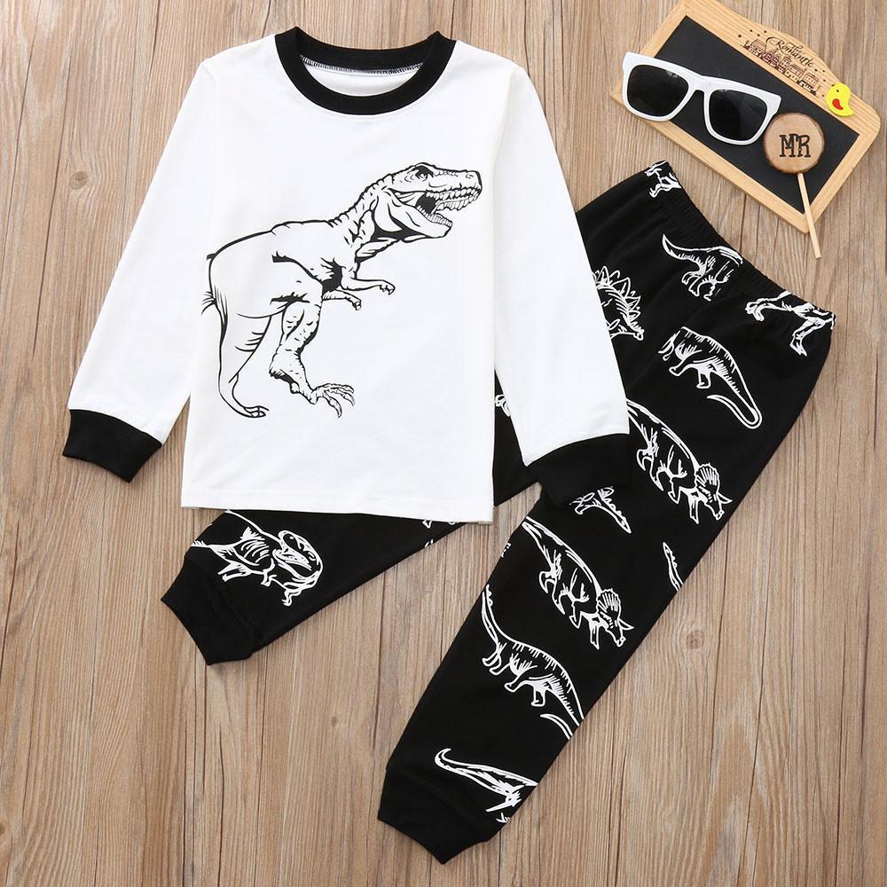 4f9dd4f64 2019 Good Quality Children Clothes Set Kids Boys Girls Dinosaur ...