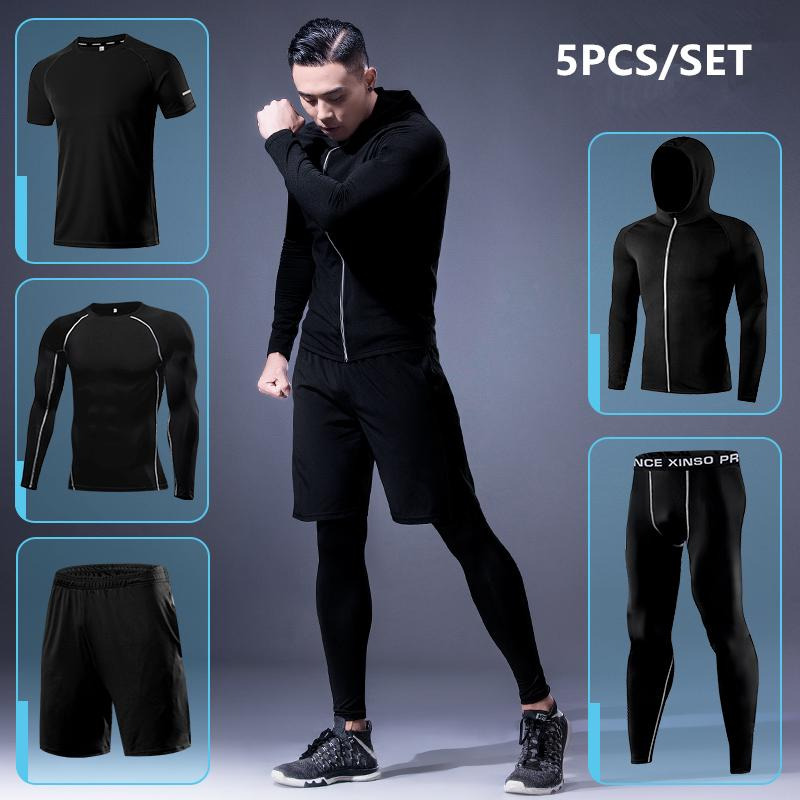 2f47bbc29532 2019 Sports Suit Men Gym Running Suit Fitness Sportswear Quick Dry  Basketball Tights Running Sets Jogging Underwear Tracksuit Clothes From  Pearguo