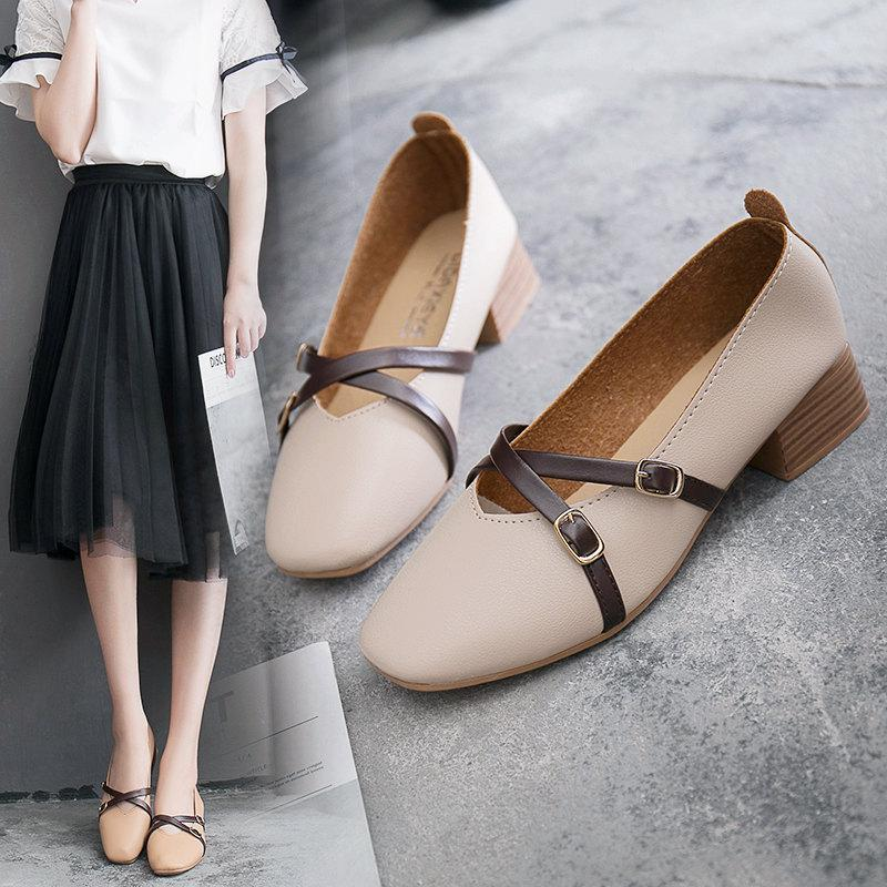 a3b60583aed8 Designer Dress Shoes Vintage Women Pumps Block Heels Leather Strappy Square  Toe Med Heels Ladies Pumps Soft Fashion Slip On Pumps Dress Womens Loafers  Mens ...