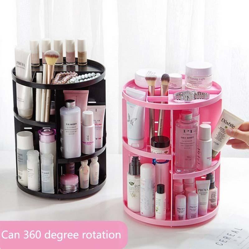 e8c826427918 New Fashion 360-degree Rotating Makeup Organizer Brush Holder Jewelry  Organizer Case Jewelry Makeup Cosmetic Storage Box Shelf