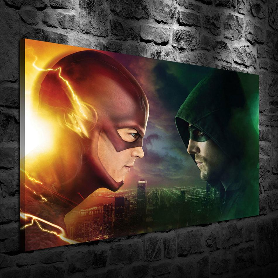 Flash Vs Arrow,1 Pieces Canvas Prints Wall Art Oil Painting Home Decor (Unframed/Framed) 24X36.