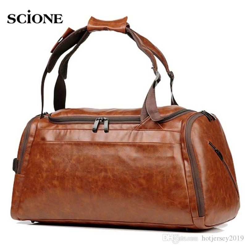 e049f14b2886 45L Leather Gym Bag Sports Bags Handbags For Fitness Men Training ...