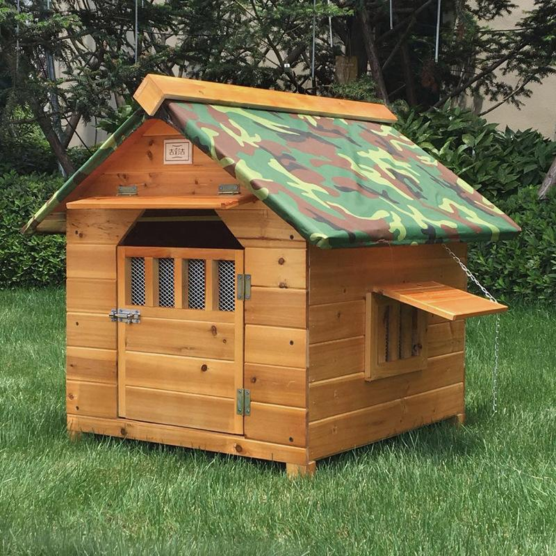 Outdoor Solid Fir Wood Dog House Kennel Waterproof Leakproof Dog Cage for Small Medium Large Dogs Cats House with Door Window