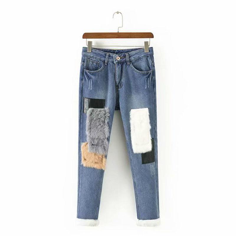 659c93b722 Compre Pantalones Vaqueros De Cintura Alta Moda De Mujer De Piel De Conejo  Patchwork Terciopelo Pantalones De Mezclilla Otoño Invierno Pantalones De  ...