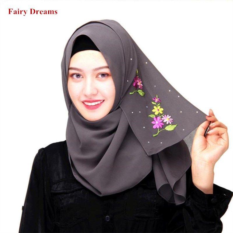 b491d2525a6 Muslim Turkish Scarves Flower Grey Red Pink Black Chiffon Arab Scarf Women  Hijab Fashion Dubai Headscarf Muslim Instant Shawl
