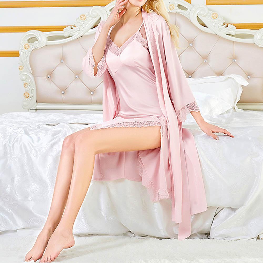 81f3d082cd5 Women Ladies Sexy Satin Silk Night Dress Kimono Bathrobe Sets Nightgown  Babydoll Lingerie Nightwear Sleepwear robe de nuit femme