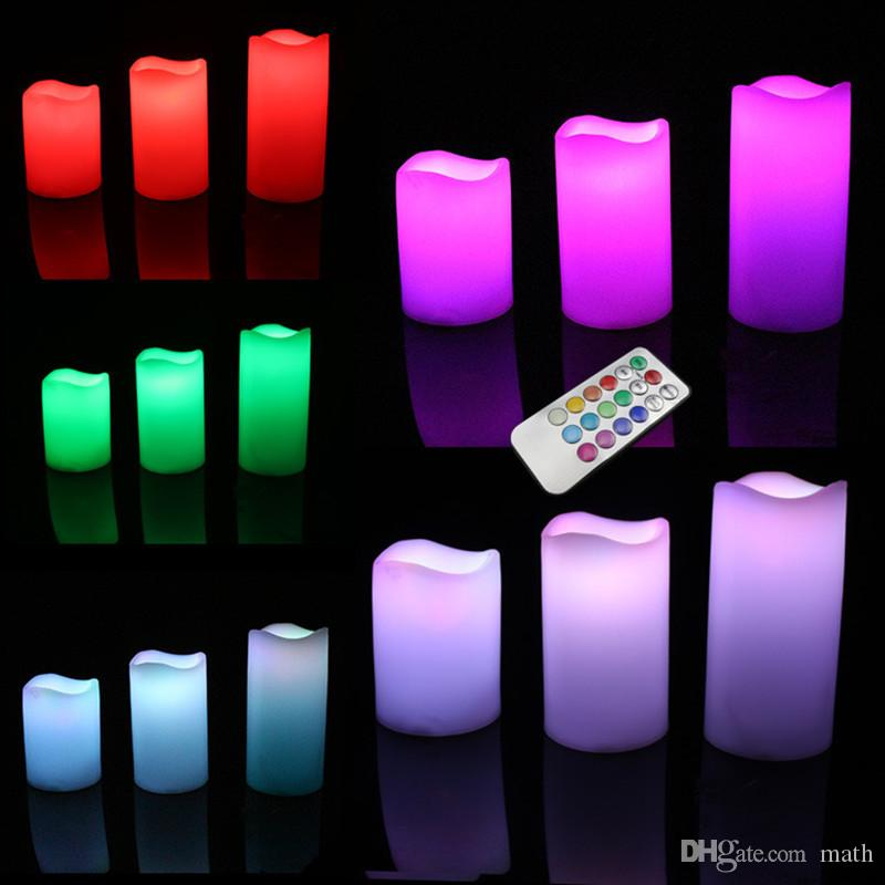 "Hot Sale 3pc/lot LED Flameless Candles 4"" 5"" 6"" Pillar Color Changing Remote Glow Wedding Home Bar table Décor LED Candle"