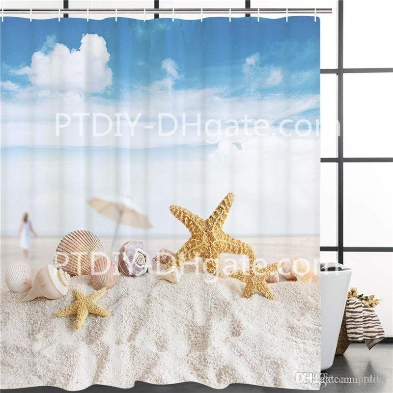 2019 Beach Shower Curtain Seashells Starfish Sunshine Vacations Theme Bathroom Decor Accessories From Ptdiy1 2136