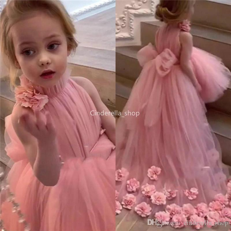 2019 Pink Tulle Ball Gowns High Low Flower Girls Dresses High Neck Handmade Flowers Appliques Girls Pageant Dresses Bow Sash Vestidos