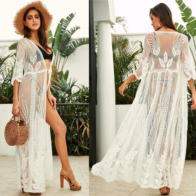 European and American lace mesh embroidery loose beach holiday cardigan bikini jacket seaside sunscreen woman