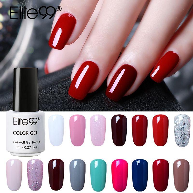 Elite99 7ml Pure Color Gel Nail Polish Top Base Coat Need Long ...