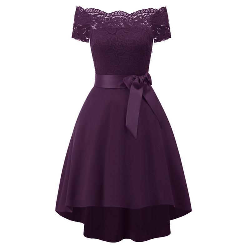 f13105b8a1 Sensfun Asymetrical Boat Neck Lace Girl Dresses Women Vintage Dress  Vestidos Audrey Hepburn Robe Retro Rockabiliy With Sash Club Dress Prom  Dresses Online ...