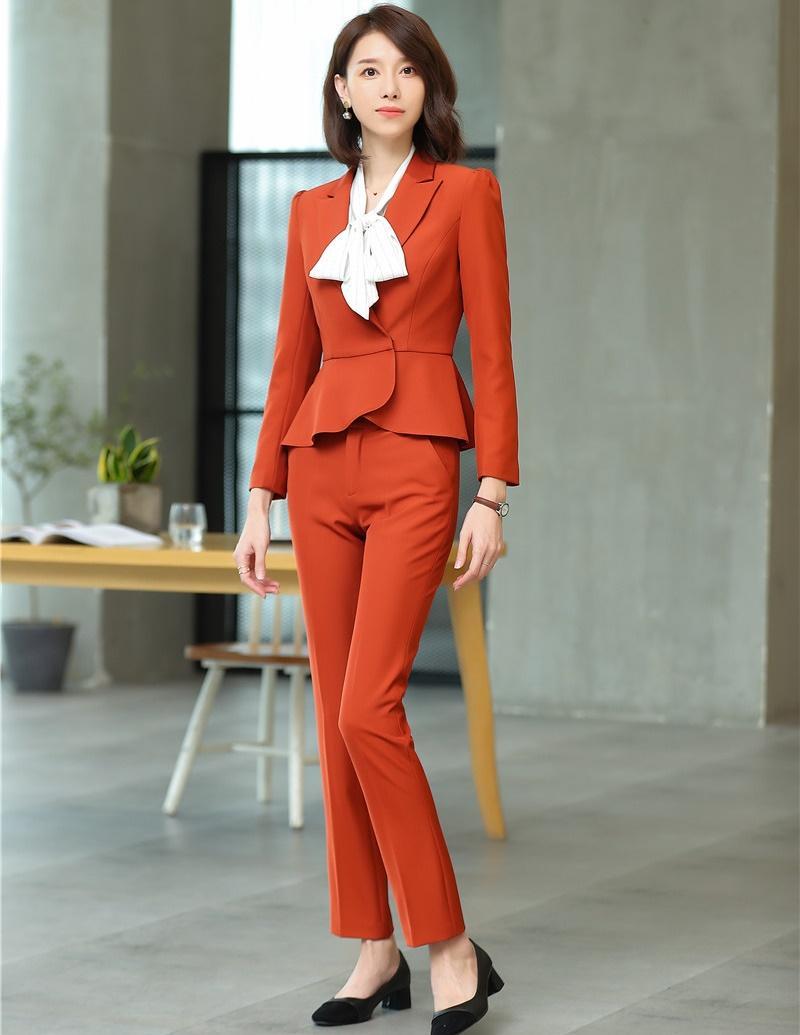 232d2524cbfe Compre Nueva 2019 Moda Blazer Mujer Trajes De Negocios Conjuntos De Pantalón  Y Chaqueta Ropa De Trabajo Para Mujer Uniformes De Oficina Estilos A $80.32  Del ...