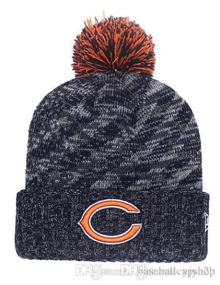 bb5f08ca4b6 NEW Men s Bear Knitted Cuffed Pom Beanie Hats Striped Sideline Wool ...