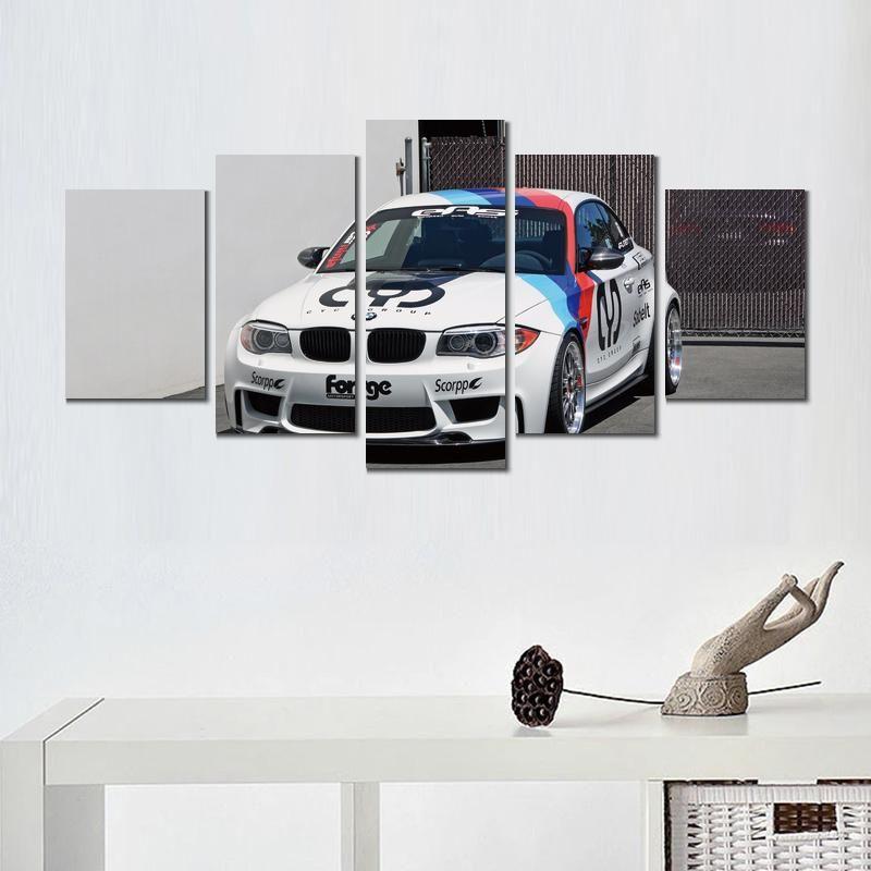 5 Paneller Tuval Baskılar Sanat Boyama Bmw Coupe Spor Araba