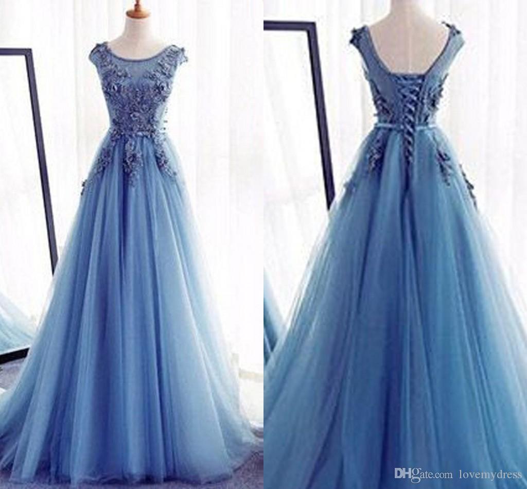 15b4ece0fa19 Light Sky Blue Empire Waist Prom Dresses Long 2019 Boat Neckline Short  Sleeve Applique Beaded A Line Evening Gowns Special Occasion Dress Printed  Prom ...