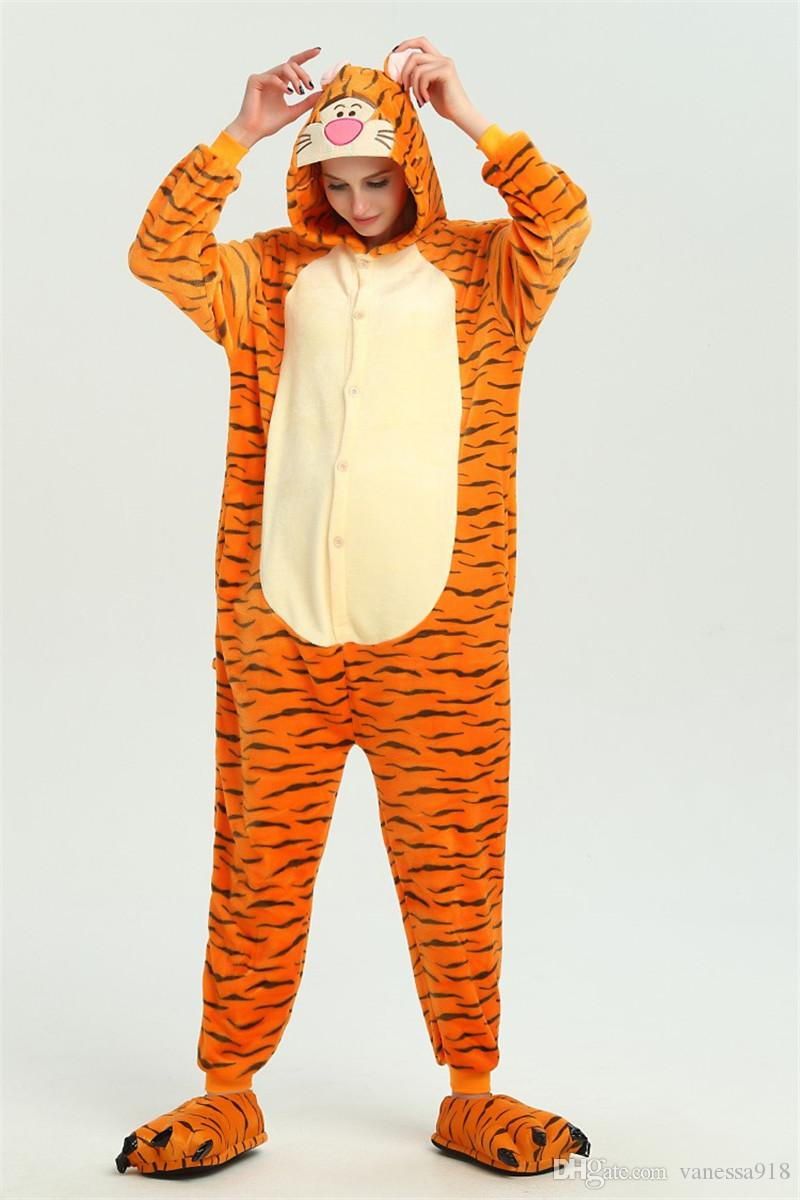 ddc64c4b47c Tiger Animal Kigurumi Anime Onesie Children Pajama Adult Fleece Jumpsuit  Funny Sleepwear Women Girl Sleepwear KD 072 Cute Group Costumes Adult Group  ...