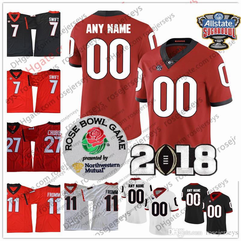 7f9981a47 2019 Custom Georgia Bulldogs Any Name Number Jersey Holyfield Hardman  Blankenship Fromm Chubb UGA 2018 Champions Sugar Bowl Rose White Red Black  From ...