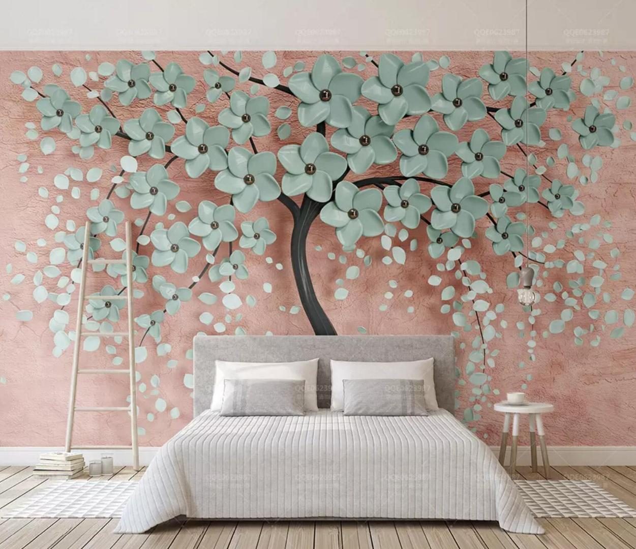 [Self-Adhesive] 3D One Tree Flower 65203 Wall Paper mural Wall Print Decal Murals