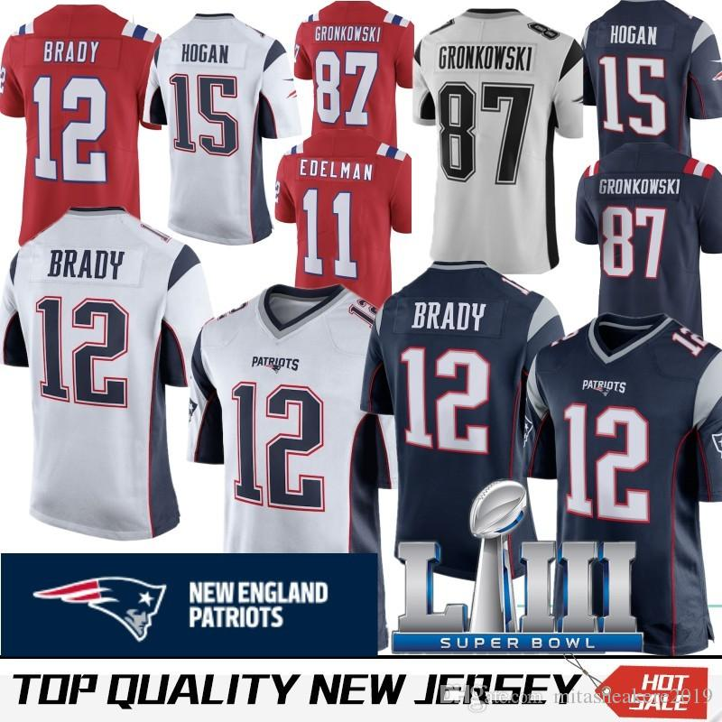 9d4ed707981 2019 2019 New Super Bowl LIII 12 Tom Brady Patriots Jersey 87 Rob  Gronkowski 11 Julian Edelman 14 Brandin Cooks 15 Chris Hogan 92 James  Harrison From ...