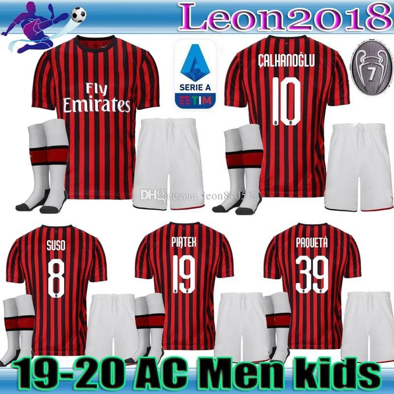 size 40 c0041 00b77 Adult kids kit 19 20 AC Milan soccer jerseys home 2019 2020 Piatek PAQUETA  Suso CALHANOGLU Kessie Men youth football Jerseys shirt