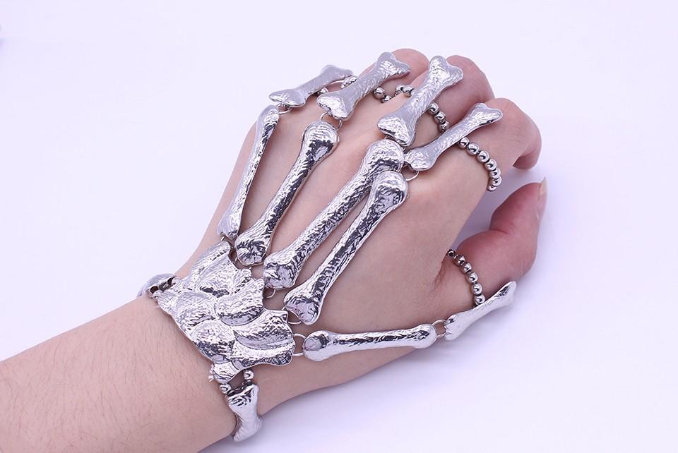 Hiphop Skull Skeleton Bracelets for Women - Nightclub Gothic Punk Halloween Finger Bone Bracelets Bangles Cool Gift (Gold Silver)
