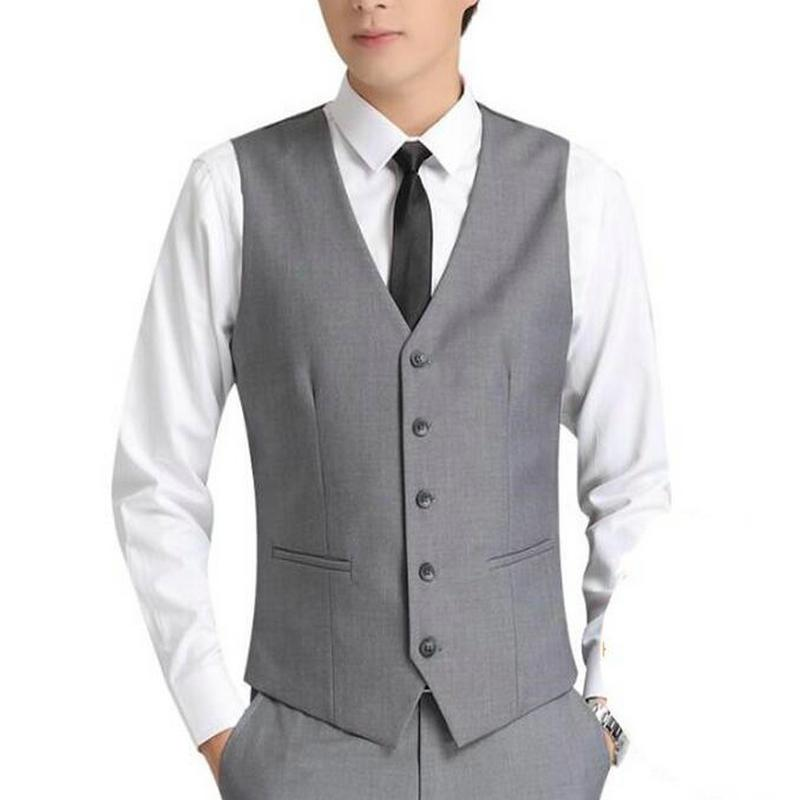 Light Grey Men Suit Vests Five Buttons Classic Dress Slim Fit Vests Male Sleeveless Brand Mens Formal Wedding Waistcoat