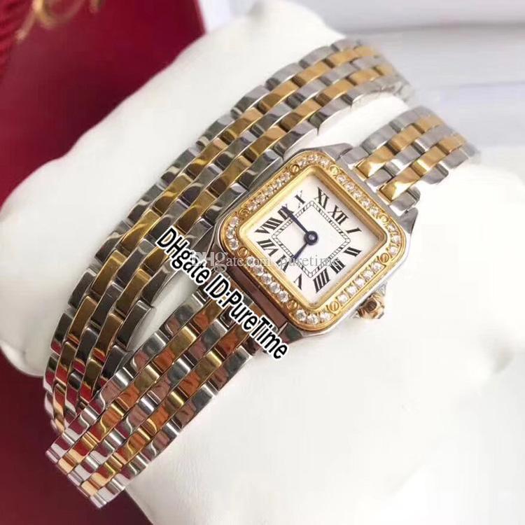 New WJPN0012 18K White Gold Diamond Bezel White Dial Roma Mark Swiss Quartz Womens Watch Extended Stainless Steel Bracelet Watches B27a1