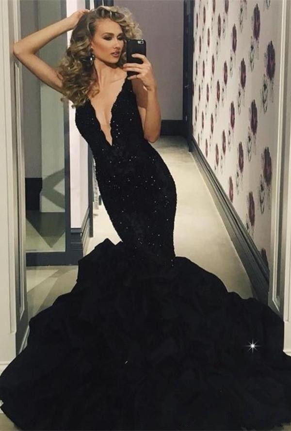 c55e4ac33971 Elegant Black Evening Dresses Mermaid Beaded Appliques Vestido De Festa V  Neck Sexy Prom Dress Robe De Soiree 2019 Puffy Skirt Party Gowns Womens  Evening ...