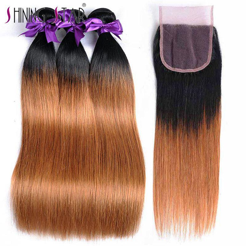 T1b 27 Honey Blonde Ombre 3 Brazilian Straight Hair Bundles With Closure Human Hair Weave With Closure Shiningstar Non Remy Hair Hair Extensions & Wigs Human Hair Weaves