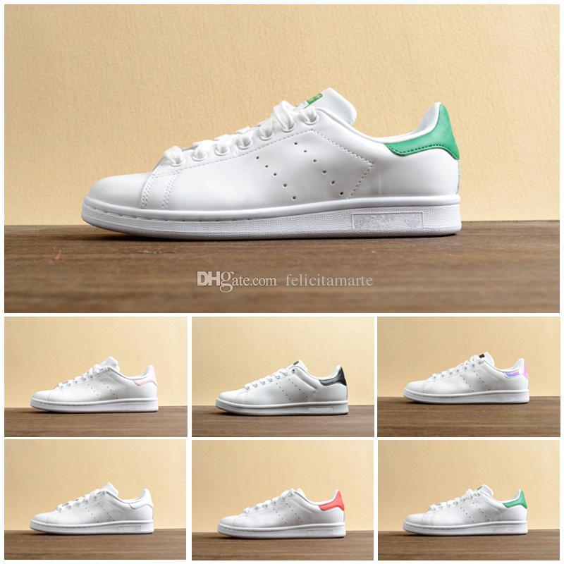 designer fashion 295c6 d2b73 Acheter 2019 Chaussures De Course Stan Smith Chaussures Stan Mens Smith  Blanc Rose Noir En Cuir Pour Homme Débardeur Taille Baskets Sport EUR 36 44  De ...