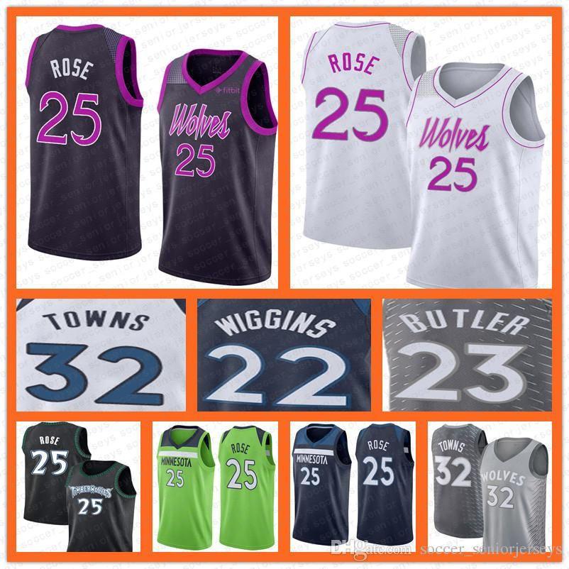 new arrival 74b7a 544d9 Minnesota 25 Rose Timberwolves baseetball jersey 32 Towns 23 Butler 22  Wiggins 2018-2019 NEW free shippong