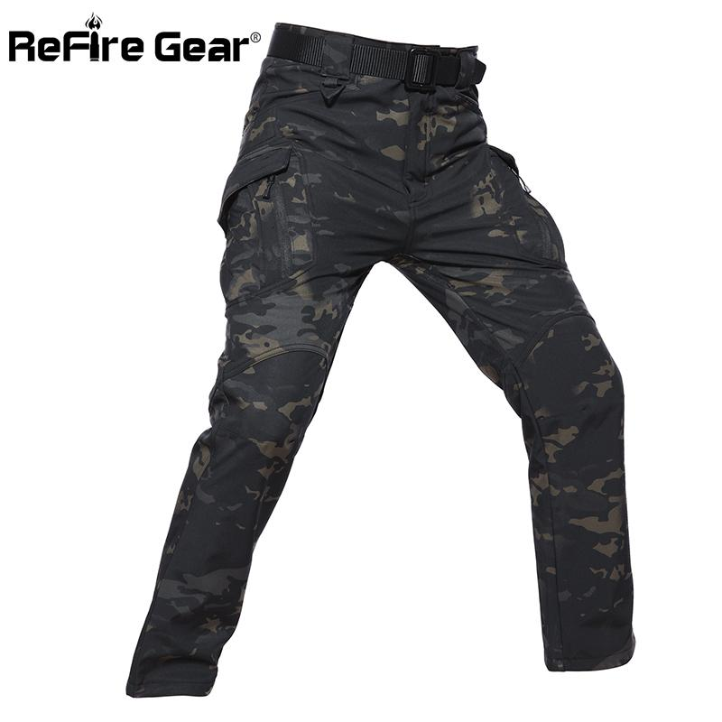 ReFire Gear IX9 Style Soft Shell Tactical Camouflage Pants Men Waterproof Military Cargo Fleece Pants Winter Warm Army TrousersMX190903