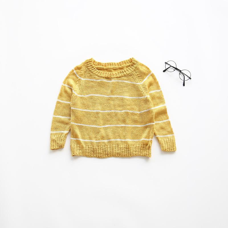 Boys Knitted Sweater Striped Round Neck Autumn Childrens Clothing