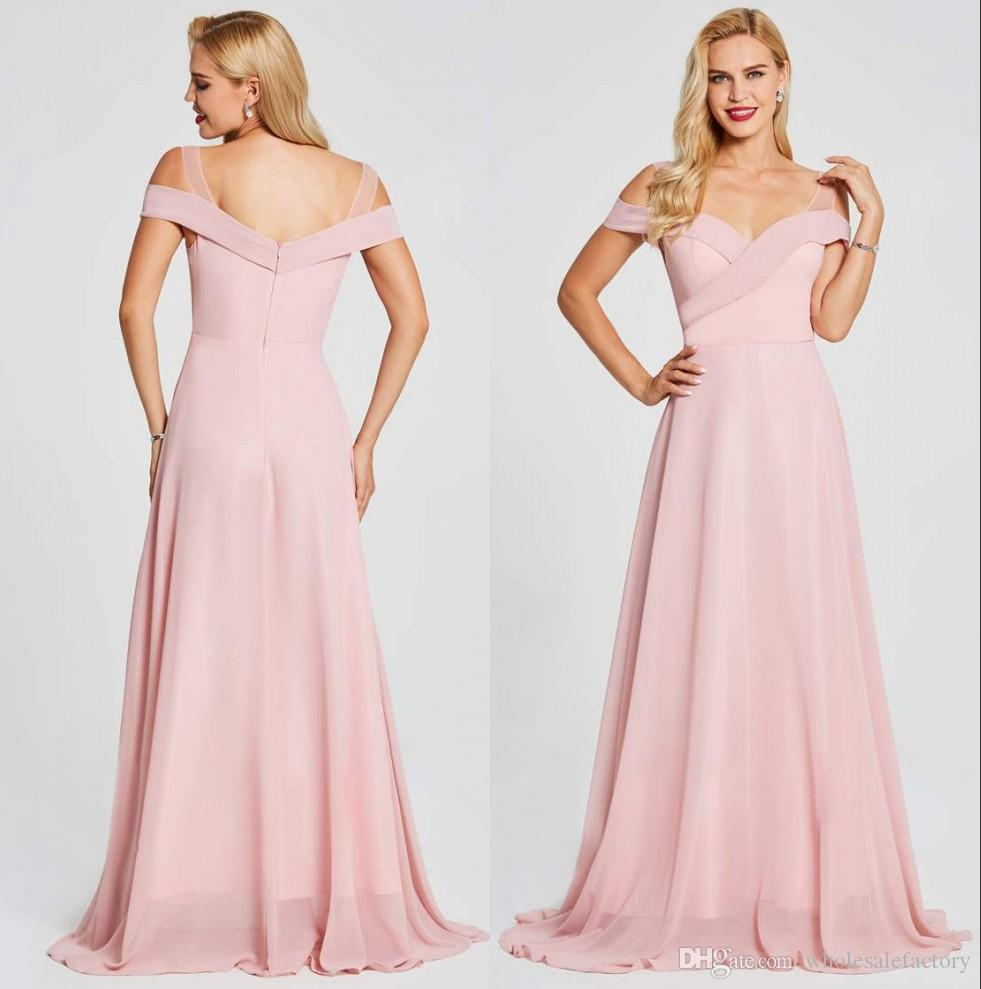 3b09fddc72262 2019 Sexy Light Pink Off The Shoulder Chiffon Long Bridesmaid Dresses Ruch  Floor Length Maid of Honor Plus Size Wedding Guest Dresses BM0147